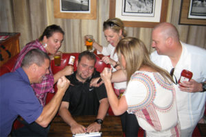 It's dangerous to be the boss, as shown in this recreation as part of our pub crawl team building program