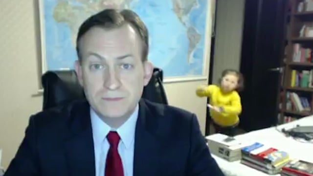 BBC interviewee gets interrupted by toddler