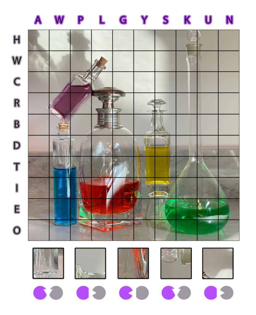 Flasks and fluids for a chemistry puzzle